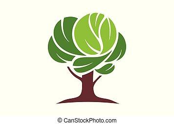 logo, vektor, træ, ikon
