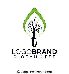 logo, vektor, træ, t, brev