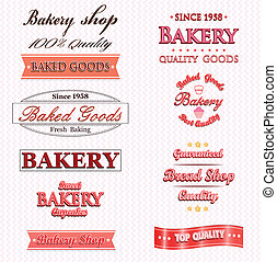 logo, vendange, collection, boulangerie