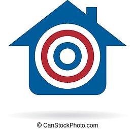 logo, vente, cible, maison