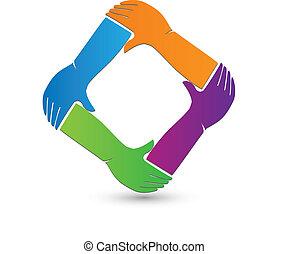 logo, verbinding, handen