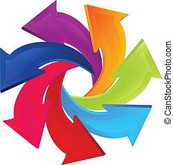 logo, verbinding, pijl