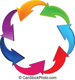 logo, verbinding, pijl, zakelijk