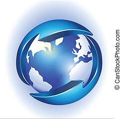 logo, verbinding, vector, wereld