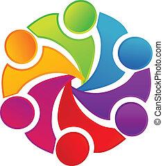logo, vereint, gemeinschaftsarbeit, leute