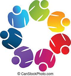 logo, verenigd, teamwork, mensen