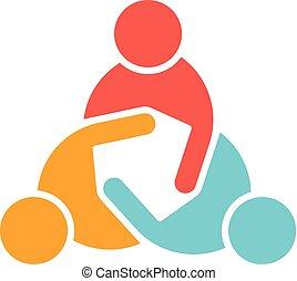 logo, versammlung, geschäftsmenschen
