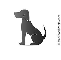 logo, veterinär, silhouette, hund