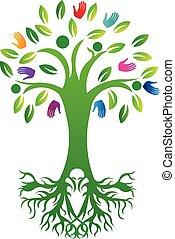 logo, vie, arbre