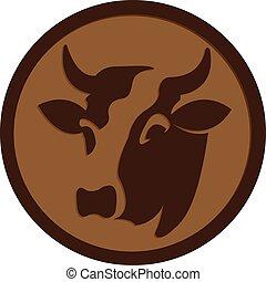 logo, vieh, ikone