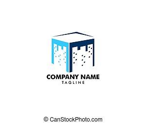 logo, ville, vecteur, carrée, icône