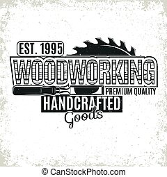 logo, vinatge, travail bois