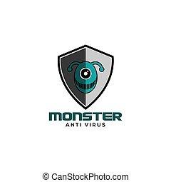 logo, virus, vecteur, anti, monstre
