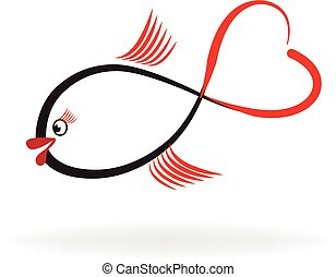 logo, visje, liefde