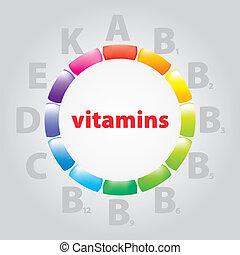 logo, vitamine, en, voeding