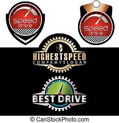 logo, vitesse, mètre