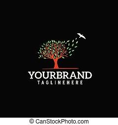 logo, vliegen, boompje, vogel