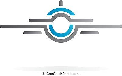 logo, vliegtuig, vector