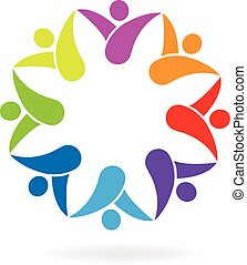 logo, vorm, bloem, teamwork