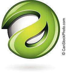 logo, vorm, groene, glanzend, 3d