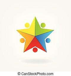 logo, vorm, mensen, ster, teamwork