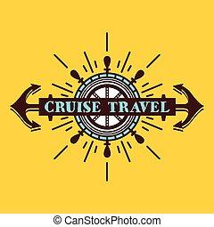 logo, voyage, croisière, écusson, vendange