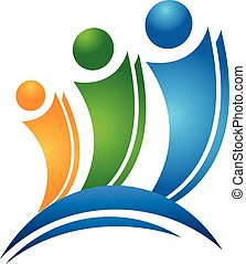 logo, vrolijke , concept, vrienden