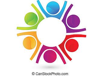 logo, vrolijke , teamwork, zakenlui