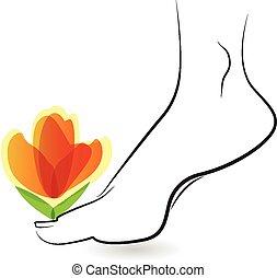 logo, vrouw, blootsvoets, bloem