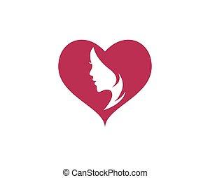 logo, vrouw, vector, gezicht, pictogram