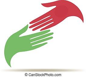 logo, vrouw zaak, handen