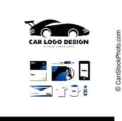 logo, wóz prąd, projektować, ikona