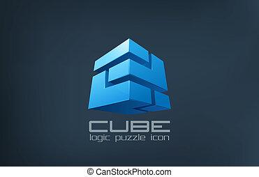 logo, würfel, technologie, abstract., logik, puzzel, kasten, icon.