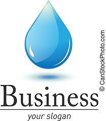 Logo water drop - Logo 3D, fresh, blue water drop, vector...
