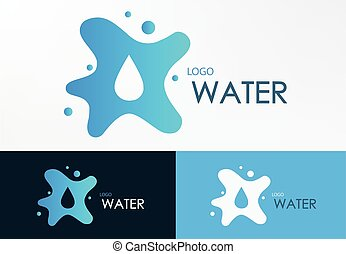 logo water liquid design vector graphic with three background