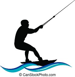 logo waterskiing, Water ski silhouette with wave