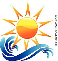 Logo waves and sun vector