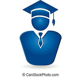 logo, wektor, absolwent