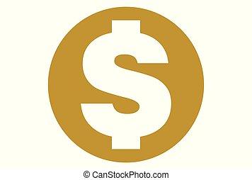 logo, wektor, dolar, złoty