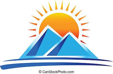 logo, wektor, góry