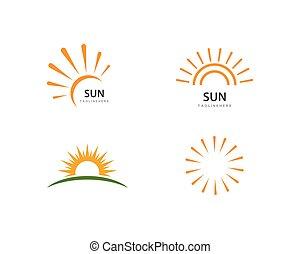 logo, wektor, ilustration, słońce