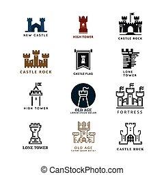 logo, wektor, komplet, forteca, zamek