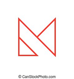 logo, wektor, litera m, linearny, trójkąt