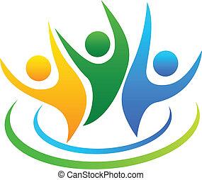logo, wektor, optymistyczny, ludzie