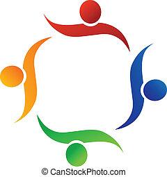 logo, wektor, pracujące ludzie