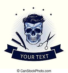 logo, wektor, projektować, barbershop, template.