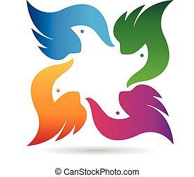 logo, wektor, ptaszki, drużyna