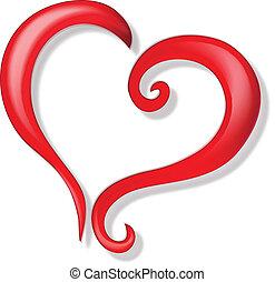 logo, wektor, romansowe serce