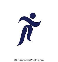 logo, wektor, sport, ludzie, ikona