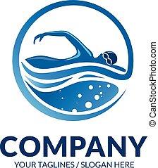 logo, wektor, sport, pływacki